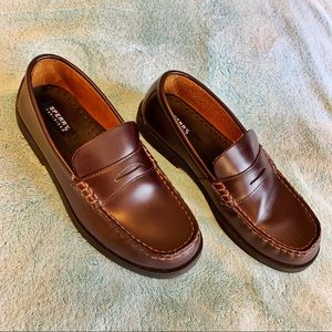 Boys Leather Sperry Colton Penny Loafers Size 5